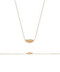 Collier Pilou plaqué or 18K 3 microns avec feuille Aimée Private Collection tendance, bijoux fantaisie mode