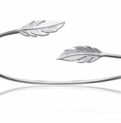 Jonc Amy en argent 925 rhodié feuille Aimée private collection bijoux fantaisie tendance mode influenceuse