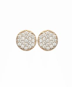 Boucles d'oreilles Ibiza rondes plaqué or 18K 3 microns micro serti de brillants Aimée Private Collection nouveau modèle influenceuse