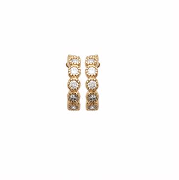 Boucles d'oreilles Emily plaqué or 18K 3 microns serti Diamants Zirconium Aimée Private Collection nouveau tendance influenceuse