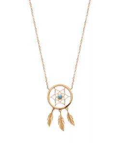 Collier Monki en plaqué or 18K et pierre turquoise Aimée Private Collection bijou pendentif médaillon