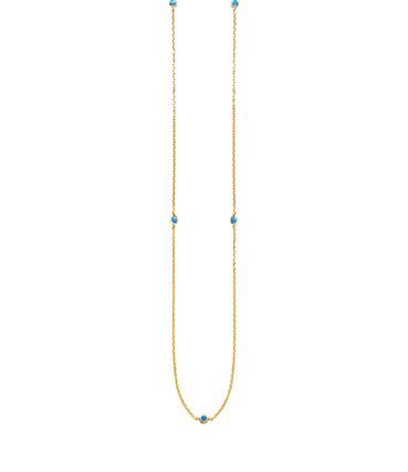Sautoir Mykonos plaqué or et pierres semi précieuses turquoise