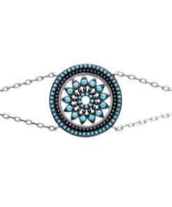 Bracelet Sam en argent 925 Rhodié serti de turquoises Aimée Private Collection tendance influenceuse mode