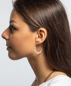 boucles d'oreilles chakra agathe rose plaque or aimee bijoux creoles paris france